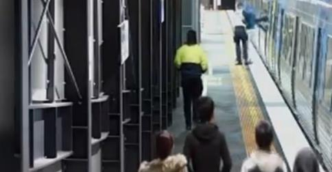 CCTV footage at Springvale train station leading up to the incident