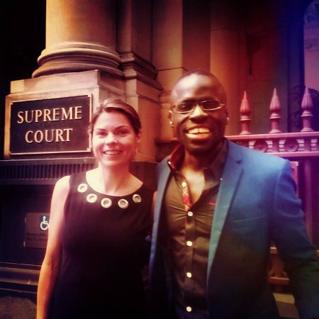 Outside the supreme court of Victoria after the landmark historic win with my super Barrister Ms. K Grinberg.