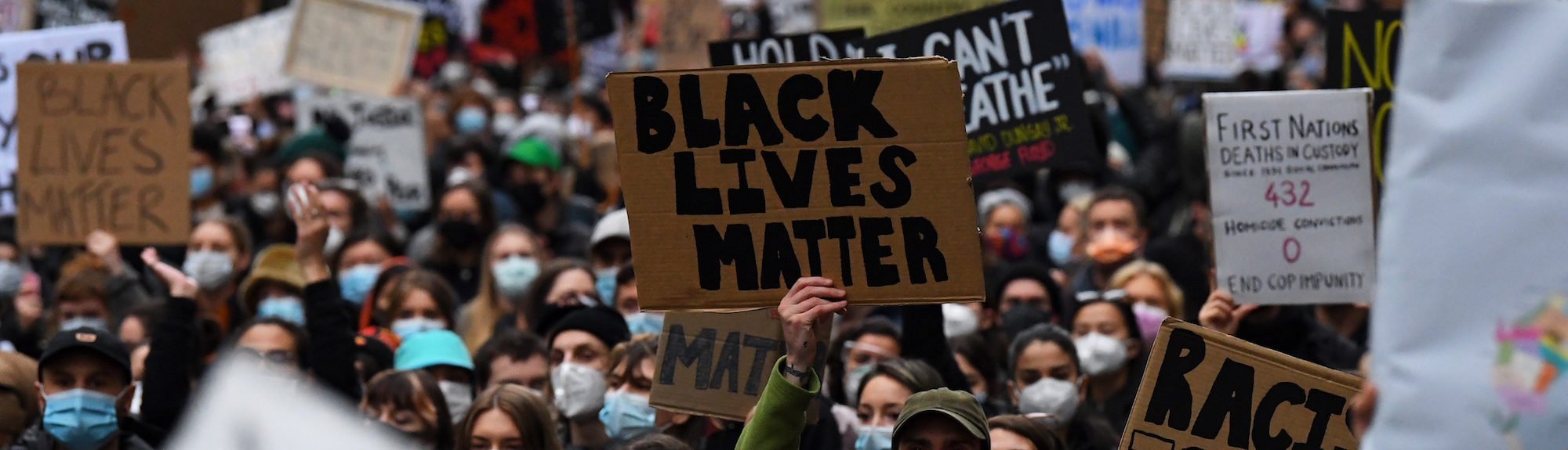 Black Lives Matter rally in Melbourne, (AAP Image/James Ross)