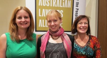 Pictured: Emily Anderson, ALA VIC President; Sophie Ellis, Flemington and Kensington CLC; Geraldine Collins, ALA National President.