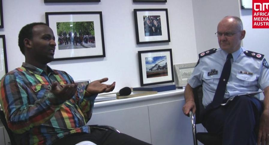 Daniel Haile-Michael and Ken lay being interviewed by Africa Media Australia.  May 2013